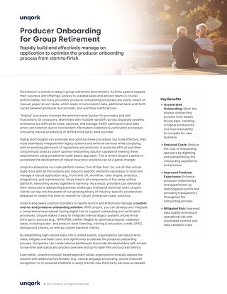 Solution Brief: Producer Onboarding for Group Retirement