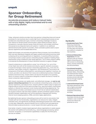Solution Brief: Sponsor Onboarding for Group Retirement