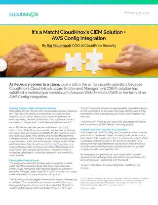 Blog: It's a Match! CloudKnox's CIEM Solution + AWS Config Integration