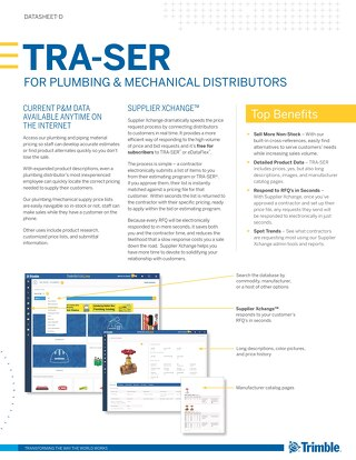 TRA-SER Datasheet for Plumbing and Mechanical Distributors