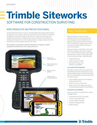 Trimble Siteworks Software Datasheet - English
