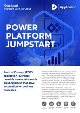 Cognizant MBG GO Power Platform Jumpstart 2021 Flyer