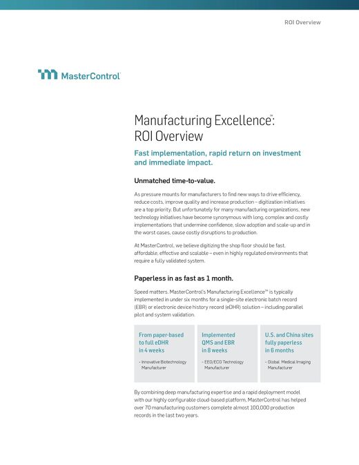 Manufacturing Excellence™: ROI Overview