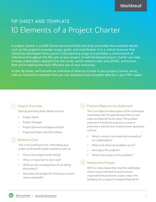 Tip Sheet and Template: 10 Elements of a Project Charter