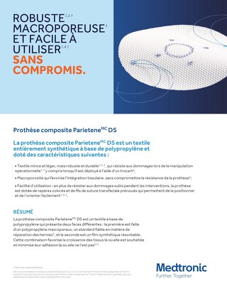 Prothèse composite Parietene DS - CARACTÉRISTIQUES TECHNIQUES
