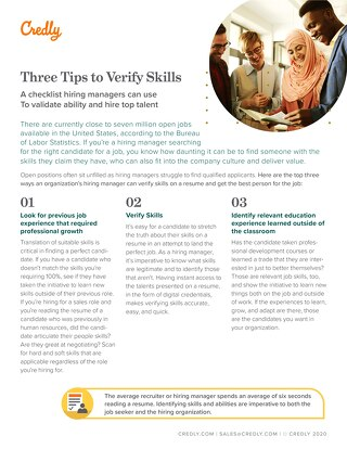 Credly Three Tips to Verify Skills Resume Checklist Guide