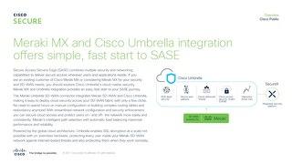 Meraki MX and Cisco Umbrella integration offers simple, flexible deployment