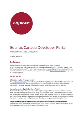 Equifax Canada Developer Portal FAQs