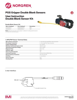 PGS Gripper Double Blank Sensor Kit User Instructions