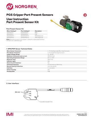 PGS Gripper Part Presence Sensor User Instructions