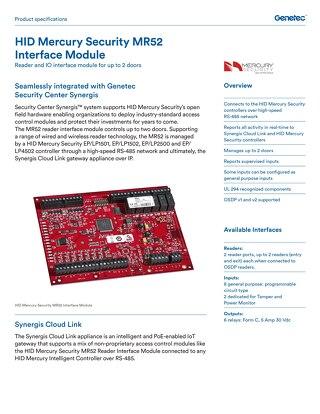 Mercury MR52 dual-card reader interface panel