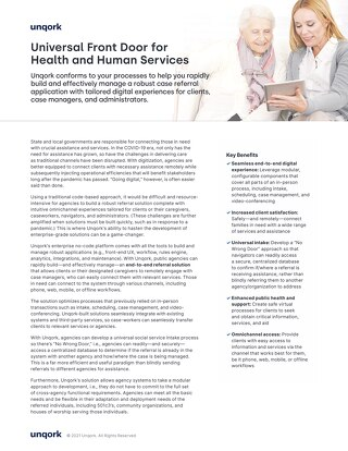 Solution Brief: Universal Front Door for Health and Human Services