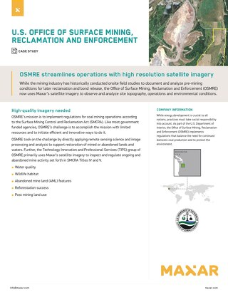 OSMRE streamlines operations with high resolution satellite imagery
