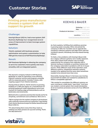 Koenig & Bauer | Better Customer Experience with ERP Optimization
