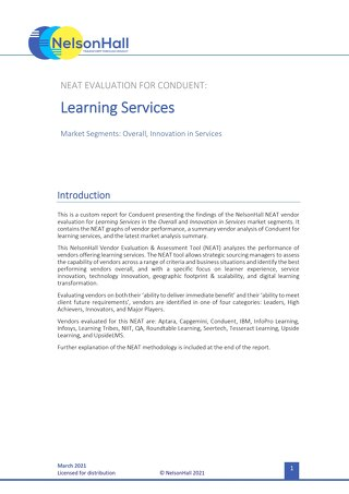 Conduent Learning Services NEAT Report