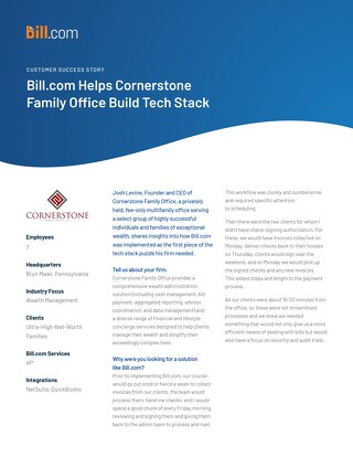 How Bill.com Proves to be First Piece of Puzzle for Building Cornerstone Family Office's Tech Stack