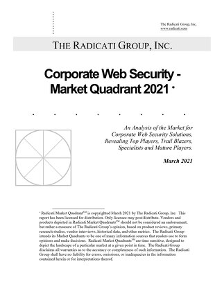 The Radicati Group's Corporate Web Security - Market Quadrant 2021