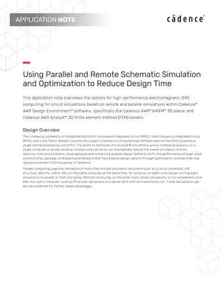 Using Parallel and Remote Schematic Simulation and Optimization to Reduce Design Time