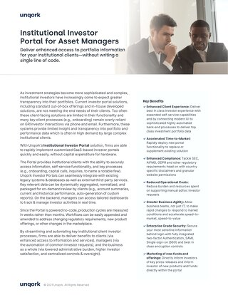 Solution Brief: Institutional Investor Portal for Asset Managers