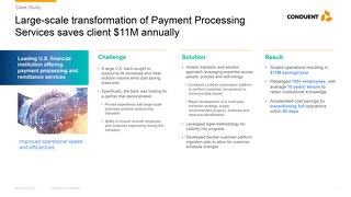 Large-scale transformation of Payment Processing Services saves client $11M annually
