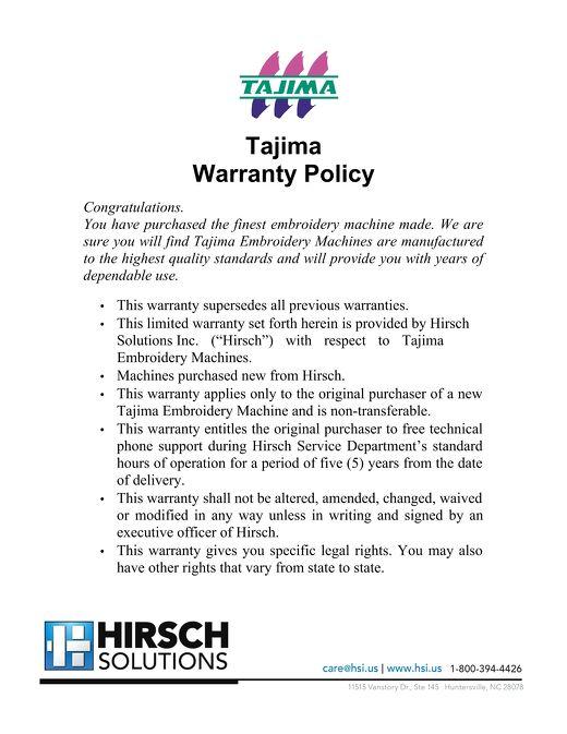 Tajima Warranty 2021