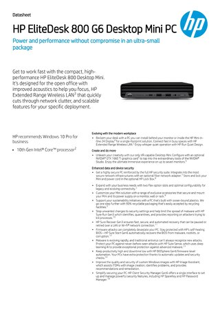 HP EliteDesk 800 | Performance with a Small Form Factor