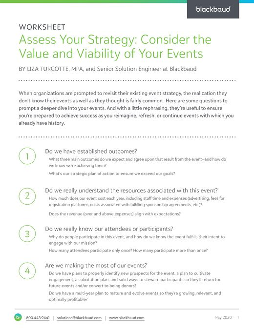 Workbook: Assess Your Strategy: Consider the Value and Viability of Your Events