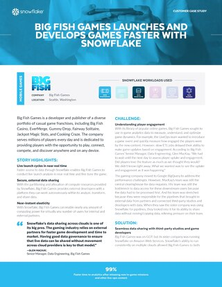 Big Fish Games Launches and Develops Games Faster With Snowflake