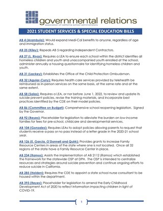 2021 Student Services and Special Education Legislation