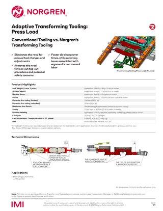 Press Load Adaptive Transforming Tooling Data Sheet