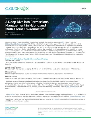 Article: Industry's First Ever State of Cloud Entitlements Report