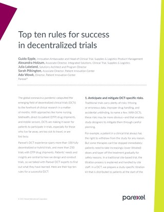 Top ten rules for success in decentralized trials