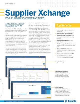 Supplier Xchange Datasheet for Plumbing Contractors