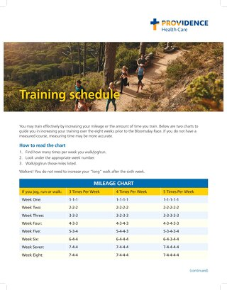 2021 Bloomsday Flyer-Training Schedule