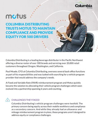 Columbia Distributing Trusts Motus Case Study