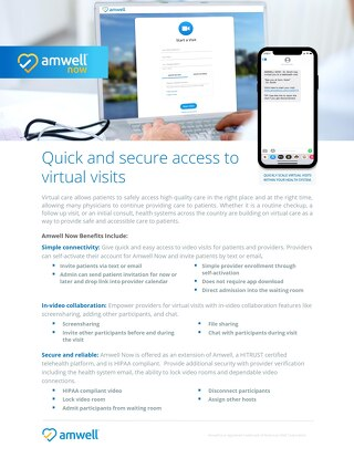 Amwell® Now: Quick & secure access to virtual visits