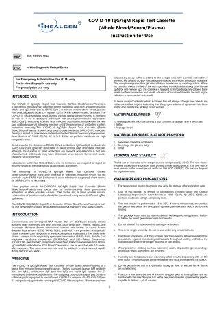 Healgen® COVID-19 rapid cassette instructions for use