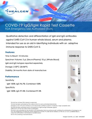 Healgen® COVID-19 rapid test cassette EUA