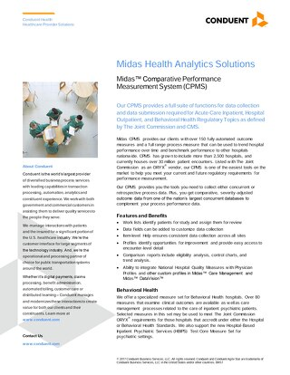 Midas Health Analytics Solutions: Midas™ Comparative Performance MeasurementSystem (CPMS)