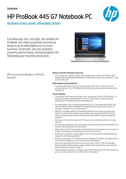 HP ProBook 445 | AMD Ryzen™ power for deadline-driven workdays