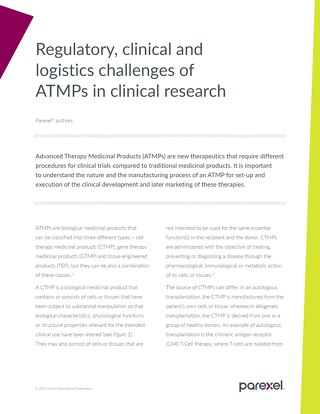 Regulatory, clinical and logistics challenges of ATMPs in clinical research