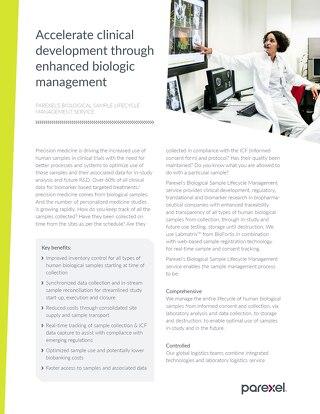 Fact Sheet: Accelerate Clinical Development through enhanced biologic management