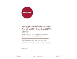 Equifax Distributions Chart - FICO 5 vs FICO 8 - Generic Canada Mortgage Trades