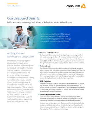 Coordination of Benefits: Drive measurable cost savings and millions of dollars in recoveries for health plans