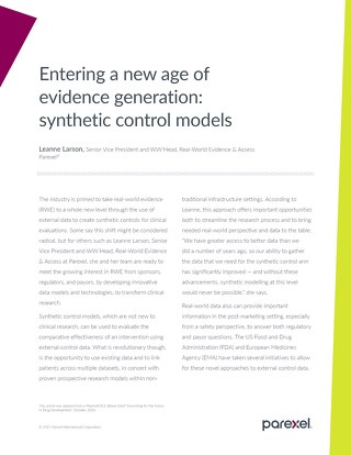 Entering a new age of evidence generation: synthetic control models