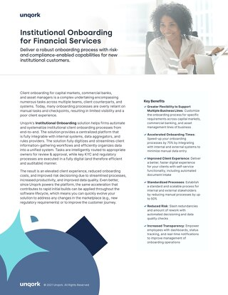 Solution Brief: Institutional Onboarding for Financial Services