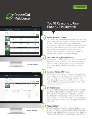 Top 10 Reasons to Use PaperCut Multiverse