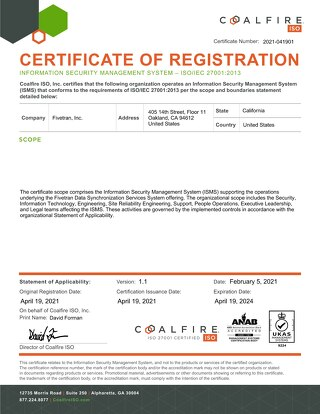 Fivetran ISO 27001 Certificate Award - 19APR2021