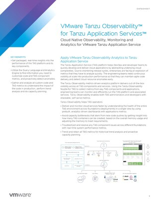 VMware Tanzu Observability for Tanzu Application Services Datasheet