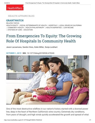 From Emergencies To Equity